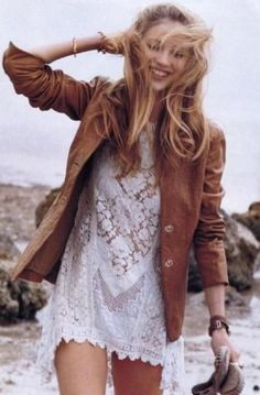 I've been looking for a white lacey dress, and paired with this jacket = adorable!