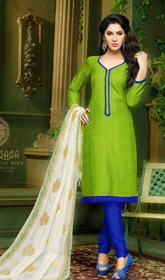 Keep your admirers spellbound with this green color silk churidar kameez. The ethnic resham and lace work with a attire adds a sign of splendor statement with a look. #FabParrotGreenStraightCutDress