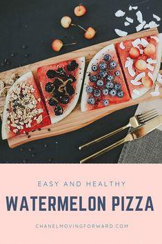 Fun and easy watermelon pizza recipe! HealthyRecipes| Fruit Recipes| Watermelon Pizza| Healthy Fruit Recipes For Kids, Fruit Juice Recipes, Watermelon Recipes, Summer Recipes, Fruit Snacks, Yogurt Recipes, Drink Recipes, Dessert Recipes, Healthy Pizza
