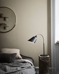 "@andtradition on Instagram: ""One of Arne Jacobsen's early designs, the Bellevue lamp is one of our oldest reissues and dates back to 1929."" Warm Bedroom, Bedroom Decor, Casa Cook, Modernist Movement, New Bedroom Design, Art Deco Movement, Black Table Lamps, Danish Furniture, Arne Jacobsen"