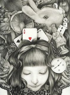 Alice in Wonderland by Lewis Carroll, Lewis Carroll, Adventures In Wonderland, Alice In Wonderland, We All Mad Here, Chesire Cat, Charlie Chaplin, Through The Looking Glass, Art Lessons, Art Drawings