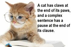 A cat has claws at the end of its paws, and a complex sentence has a pause at the end of its clause. :)