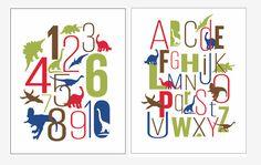 SET OF 2 Dinosaur Nursery Art 11x14 prints - Dinos Nursery Art print, Baby Room decor, Nursery Art, Kids Print