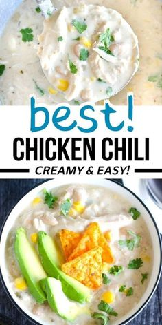 Make this easy creamy white chicken chili on the stove top in just one pan. Chili Recipe Stovetop, Best Chili Recipe, Chili Recipes, Lunch Recipes, Easy Recipes, Creamy White Chicken Chili, White Chili, Chili On The Stove, Chili Toppings