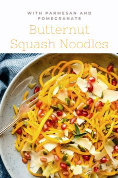 Colorful fruits and veggies, like pomegranate and butternut squash, come together to create a fresh, light pasta dish you'll enjoy all summer. Butternut Squash Noodle, Squash Noodles, No Dairy Recipes, Vegetarian Recipes, Summer Pasta Recipes, Light Pasta, Colorful Fruit, Fruits And Veggies, Pomegranate