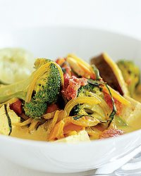 Thai-Style Tofu and Vegetables Recipe on Food & Wine The light coconut milk in this Thai-style vegetable stir-fry creates a silky sauce. The tofu is remarkably nutritious, and recent research on soy has shown that it can significantly lower total cholesterol.