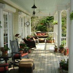 I always wanted a wrap around porch! Looks like I'm finally getting my dream home. Lots of porch decorating in my future Country Porches, Southern Porches, Country Porch Decor, Country Homes, Rustic Decor, Outdoor Rooms, Outdoor Living, Home Porch, Cottage Porch