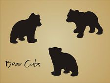 STENCIL Bear Cub Shape Rustic Animal Mountain Outdoor Lodge cabin craft art sign in Crafts, Art Supplies, Decorative & Tole Painting Silhouette Ours, Animal Silhouette, Kirigami, Baby Bear Tattoo, Bear Stencil, Bear Paw Print, Cabin Crafts, Wood Crafts, Bear Decor