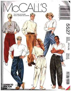 McCall's Sewing Pattern 5527 Misses', Men's, Tenn Boy's Pants Size: 34 1/2, 36 Uncut