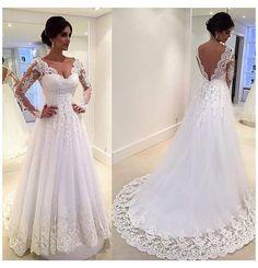 Lace Wedding Dress With Sleeves, Long Wedding Dresses, Designer Wedding Dresses, Bridal Dresses, Wedding Gowns, Dresses With Sleeves, Dress Lace, Wedding Sundress, Bridesmaid Dresses
