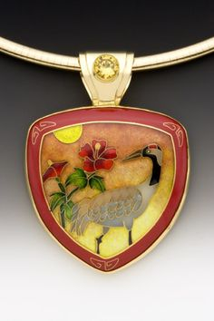 Crane Pendant; Enamel, 18k, 22k, & 24k Gold, Fine Silver, and laboratory-grown Yellow Sapphire   One-of-a-kind avail 'AnnataiEnamels' ♥≻★≺♥