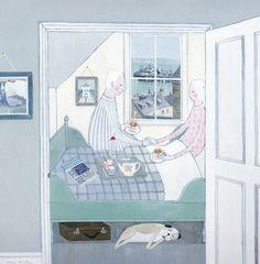 'Tea In Bed' By Painter Mani Parkes. Blank Art Cards By Green Pebble. www.greenpebble.co.uk