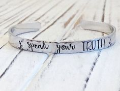 Speak Your Truth Hand Stamped Aluminum Cuff Bracelet / Hand Stamped Inspirational Jewelry / Affirmation Empowerment Jewelry Metal Stamped Bracelet, Hand Stamped Metal, Stamped Jewelry, Metal Bracelets, Jewelry Stamping, Handmade Jewelry, Geek Jewelry, Gothic Jewelry, Jewelry Necklaces