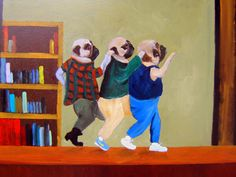 The listing consists of a pair of art Prints, created from my original oil painting The Breakfast Club.  I wanted to include both the guys and the