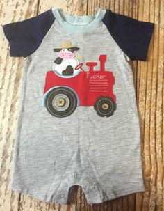 Personalized romper, tractor farm cow romper, tractor applique shirt, tractor outfit, baby boy tractor outfit, shower gift, infant clothing
