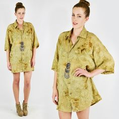 vtg 90s 70s boho ETHNIC INDIA EMBROIDERED TIE-DIE OVERSIZE tunic shirt top S/M/L $58.00