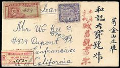 """Panama, Colombia 1902, Registration, 20c red brown on blue. Manuscript """"554"""", used with Panama 1895 20c violet tied by purple """"Bocas del Tor..."""