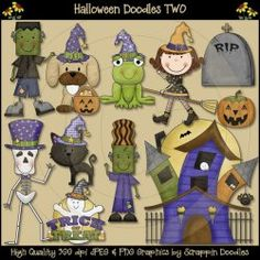 Scrappin Doodles Clip Art - Cute Graphics for Teacher Resources Halloween Doodle, Halloween Clipart, Halloween Themes, Doodle People, Cute Clipart, Fall Projects, Felt Patterns, Fall Pictures, Classroom Decor