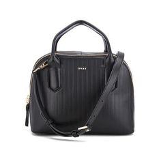 DKNY Women's Gansevoort Pinstripe Small Satchel - Black ($370) ❤ liked on Polyvore featuring bags, handbags, handbag satchel, satchel hand bags, satchel style handbag, dkny and dkny satchel