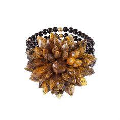 Onyx Bernstein Sterling Silber 18 Karat vergoldet Bernstein, Jewelry Design, Brooch, Silver, Wristlets, Flowers, Brooches