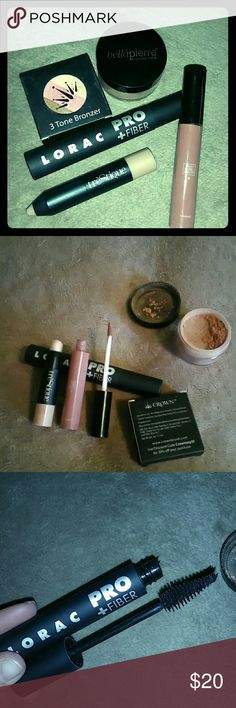 High end makeup bundle All have been used less then a handful of times. Sanitized properly and ready for new homes. All are no more then 2 months old ???????YES I DO TRADES.??????? Full size Lorac Pro+fiber mascara in black. Has fibers in it As you can see from photos still has alot on tip and if you look close can see fibers. Trustful beauty lipgasm liquid lipstick Tr?Stique Mini highlight stick Crown 3 Tone Bronzer mini New in box Bell?pierre small Mineral Blush in Autumn Glow lorac Makeup…