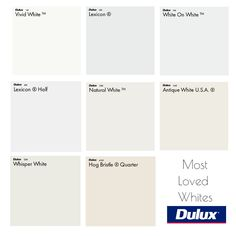 Dulux Most Loved White Colour Palette Mood Board - Style Sourcebook Dulux Paint Colours White, Wall Paint Colors, Interior Paint Colors, Paint Colors For Home, Room Paint, Dulux Bedroom Colours, Dulux Color, Interior Design, Wall Colours