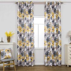 Primrose Yellow Gray Flower Curtains for Living Room Elegant Modern Co – Anady Top Space Design Elegant Curtains, Floral Curtains, Rustic Curtains, Modern Curtains, Living Room Drapes, Living Room Grey, Room Ideas Bedroom, Bedroom Themes, Yellow And Grey Curtains