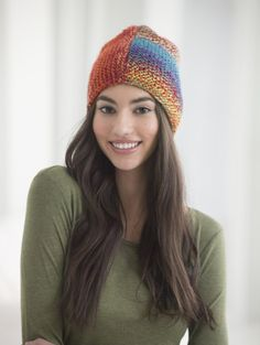 Basic Hat with Lion Brand Unique yarn... knit 2 squares, sew together, gather
