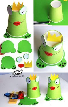 frosch selber basteln anleitung bastelideen fuer kinder frog tinker yourself instructions craft ideas for children Kids Crafts, Frog Crafts, Toddler Crafts, Creative Crafts, Preschool Crafts, Projects For Kids, Diy For Kids, Easy Crafts, Preschool Songs