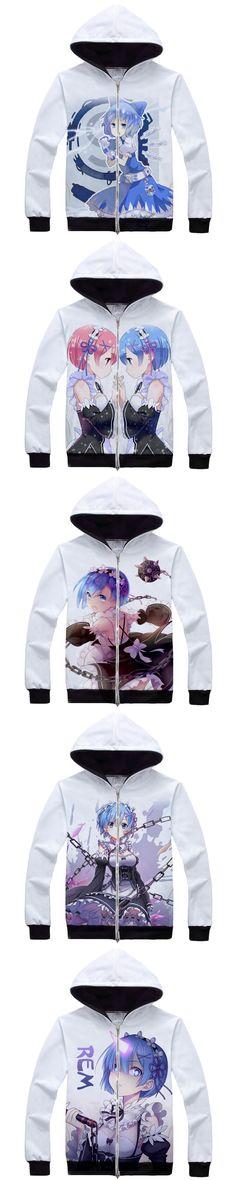 Re:Zero kara Hajimeru Isekai Seikatsu Rem Ram Uniforme Cosplay Maid Costume Robe Anime cartoon Coat Zipper Unisex Hoodies hooded
