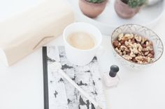 Friday night at home // interior inspo // notebook // manicure // coffee in mugtail //