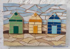 Mosaic beach huts - mixed media, 3D, art picture