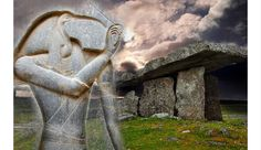 Deriv; Ancient Celtic dolmen from Poulnabrone, Ireland and carved Egyptian deity Thoth