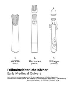 Frühmittelalterliche Köcher (Awaren, Alamannen und Wikingern) -- Early medieval quivers (Avars, Alamanni and Vikings)