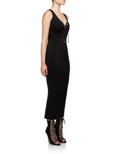 BALMAIN Sleeveless Lace-Up Dress. #balmain #cloth #dress