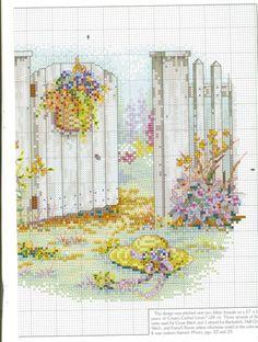 """Inviting Gateway"" cross stitch pattern by Paula Vaughan.   Found on gallery.ru"
