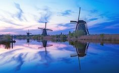 Dutch windmills, at dusk