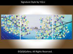 "Abstract Landscape Painting Original Tree Love Birds Wall Décor Modern  Heavy Texture Impasto Metallic ""Moonlight Sonata"" by QIQIGALLERY. $275.00, via Etsy."