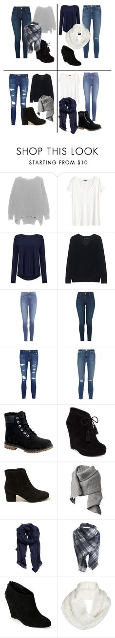 """Untitled #895"" by thefashionsense101 ❤ liked on Polyvore featuring H&M, Phase Eight, 360 Sweater, Paige Denim, J Brand, Frame Denim, Timberland, Jessica Simpson, Hollister Co. and Acne Studios"