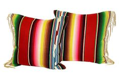 Serape Pillows w/ Fringe, Pair on OneKingsLane.com 625.00  I have one lying in the other room, a bolster, I made for about 20.00.  Vintage serape and all.