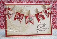 Red and cream banner card with doily