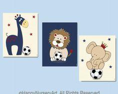 Soccer nursery art, safari animals, navy blue red, lion, giraffe, elephant, boys nursery art