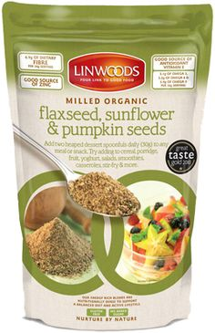 Ground Organic Flaxseed, Sunflower & Pumpkin Seeds from Linwoods Health Foods -- add to oatmeal, yogurt, or cereal to amp up your autumn morning breakfast