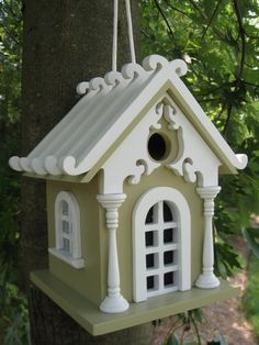 "Charming hanging birdhouse. This style has a durable nylon cord that allows easy movement. Kiln-dried hardwood construction with a removable back wall for easy cleaning. Item Dimensions: 11"" H X 10"" W X 9"" D The houses are fully functional, with removable back walls for easy cleaning.The hole openings (Excluding Purple Martin Houses) are designed to accommodate common cavity dwellers such as Wrens, Finches, Chickadees, Nuthatches and Titmice. The feeders will attract all types of wild birds…"