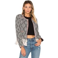 Tularosa Santa Fe Jacket ($125) ❤ liked on Polyvore featuring outerwear, jackets, coats & jackets, crochet jacket, embroidered jacket, open front jacket and woven jacket