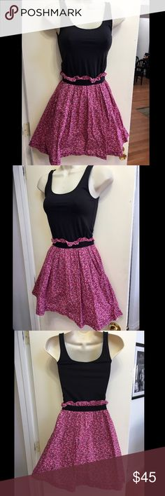 Victoria's Secret Pink Summer Sleeveless Dress S Oh so sweet Victoria's Secret Pink summer party dress. Black Sleeveless tank and flows out into a pink paisley pink skirt. Comfortable and super flirty. Size Small. New. PINK Victoria's Secret Dresses Mini