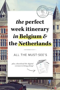 The ultimate 1-week itinerary in Belgium + the Netherlands, include full-day schedules, all the must-see sights, and train transfers. Places of interest include: Ghent, Brussels, Bruges, Antwerp, Amsterdam, Zaanse Schans, Volendam, Marken, and Delft. PLUS, get a free printable of this itinerary in digital PDF format to take along with your trip!