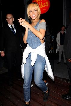 Rihanna looking fun and casual in a trendy dungarees while out for a night of Bowling in Manchester.