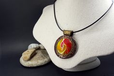 Polymer Clay Personalized Pendant with Photo Frame «The Rich» Unique Sanded Buffed Swirled Pendant in Red & Gold Colours - Birthday Gift by SweetyBijou on Etsy