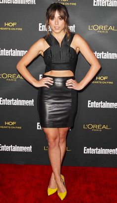 Chloe Bennet in a two piece leather outfit and heels on the red carpet Beautiful Celebrities, Gorgeous Women, Chloe Bennett, Sexy Legs, Leather Skirt, Leather Fashion, Celebs, Girl Celebrities, Sexy Women